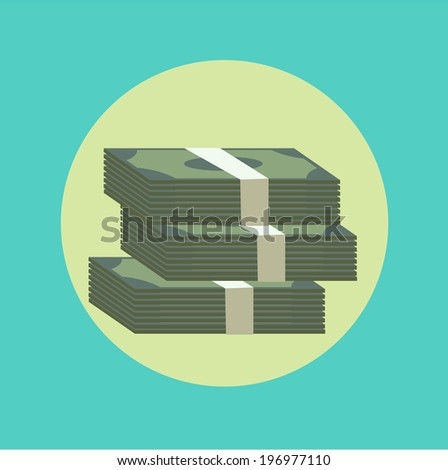 stack of paper money flat icon - stock vector