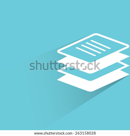 stack of papers on blue background, flat and shadow theme - stock vector