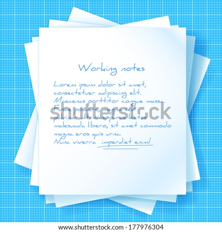 Stack of papers on blueprint. Vector illustration - stock vector