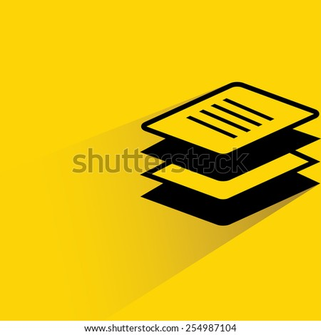stack of papers on yellow background, flat and drop shadow theme - stock vector
