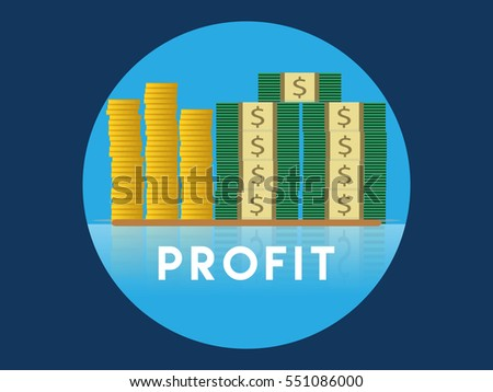 Stack of profit money on circle and blue background