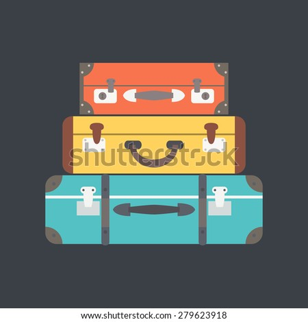 Stack of suitcases. Flat vector illustration - stock vector