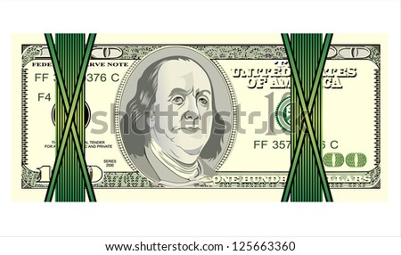 Stack of ten thousand dollar bills. white background. - stock vector