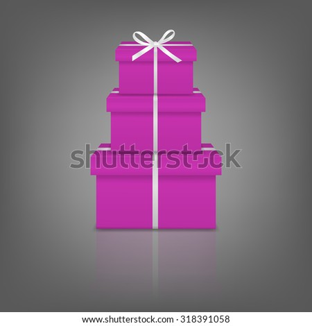 Stack of three realistic pink gift boxes with white ribbon and bow on gray background with reflection. Vector EPS10 illustration.  - stock vector