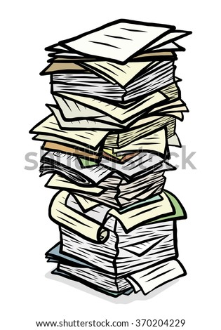 Stack Used Papers Cartoon Vector Illustration Stock Vector ...