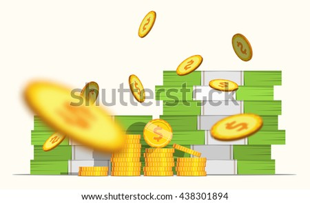 Stack pile of cash money banknotes and some blur gold coins. Coin Falls. Flat style cash money illustration. - stock vector