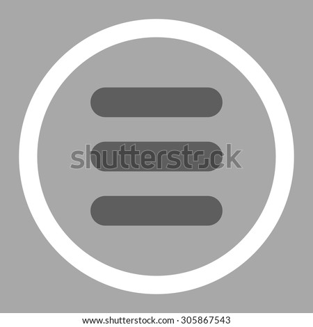Stack vector icon. This rounded flat symbol is drawn with dark gray and white colors on a silver background.