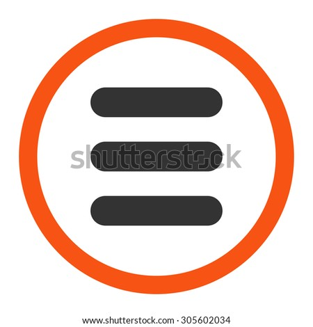 Stack vector icon. This rounded flat symbol is drawn with orange and gray colors on a white background.