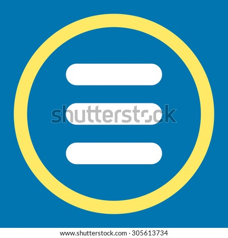 Stack vector icon. This rounded flat symbol is drawn with yellow and white colors on a blue background.