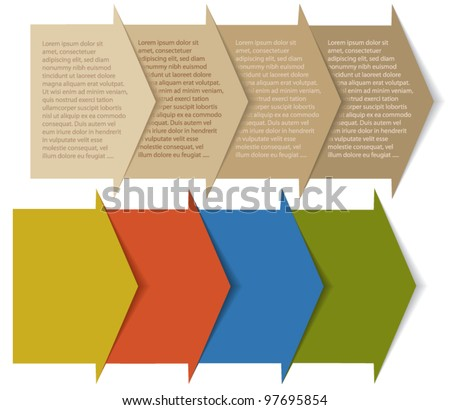 Stacked Arrows/Pockets, Background for Web Design and Creating Unique Brochures and Banners, in old paper and retro colors - stock vector