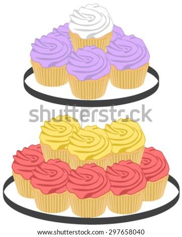 Stacked Cupcakes Dessert Platter Vector Illustration - stock vector