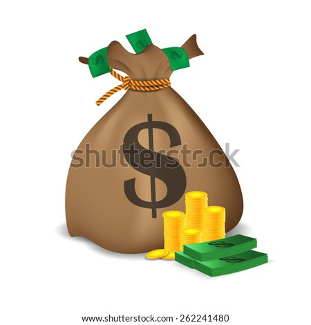 Stacks of coins,a bundle of money and money bag. Vector illustration - stock vector