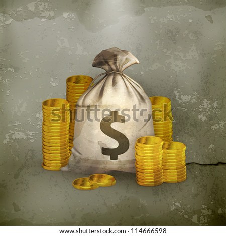 Stacks of coins and money bag, old-style vector - stock vector