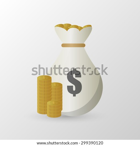 Stacks of coins and money bag. Vector illustration - stock vector