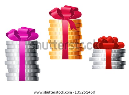 Stacks of coins with colorful ribbons for finance concept or present design. Jpeg version also available in gallery - stock vector