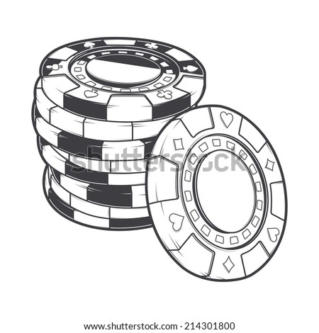 Stacks of gambling chips, casino tokens isolated on a white background. Line art. Retro design. Vector illustration. - stock vector