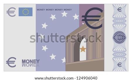 Stacks of game money - euro bills - stock vector