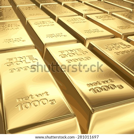 Stacks of gold bars vector illustration EPS 8.