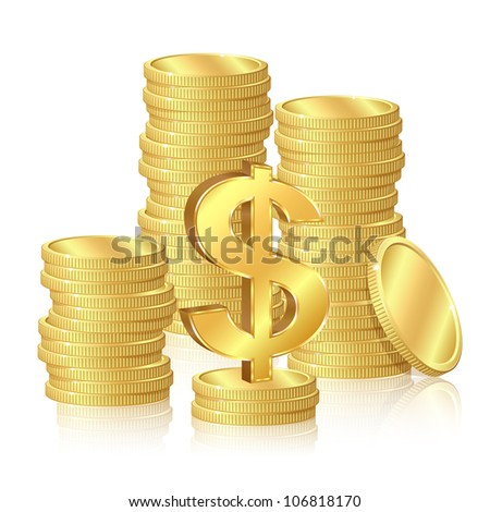 Stacks of gold coins and dollar signs - stock vector