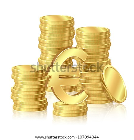 Stacks of gold coins and euro signs - stock vector