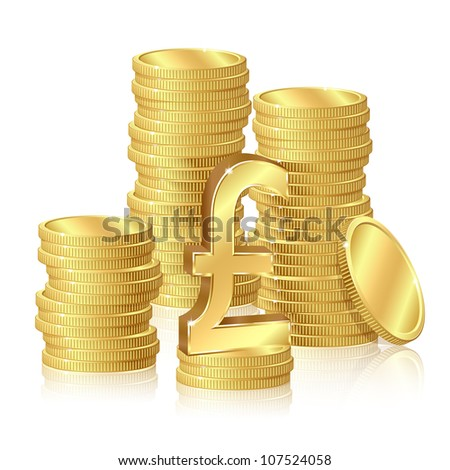 Stacks of gold coins and pound sterling sign - stock vector