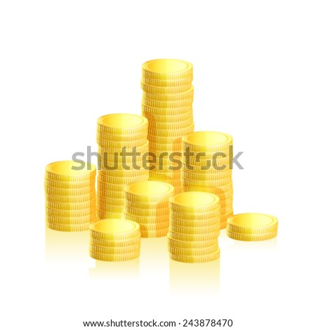 Stacks of gold coins. Vector - stock vector