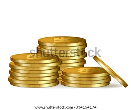 Stacks of golden coins, isolated on white background