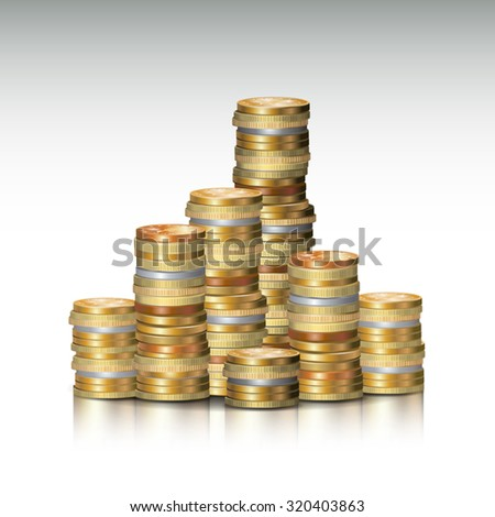Stacks of golden coins isolated on white. Vector illustration