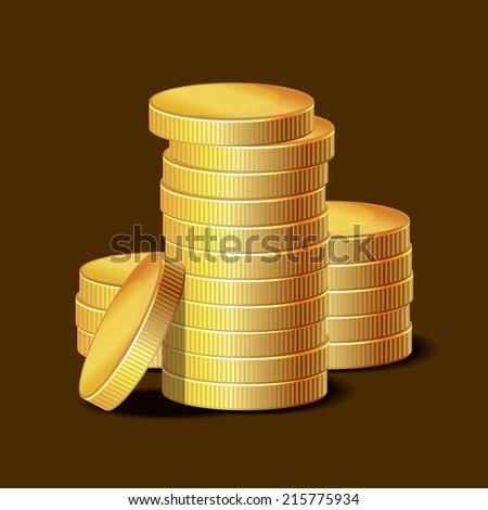 Stacks of Golden Coins on Dark Background. Vector illustration - stock vector