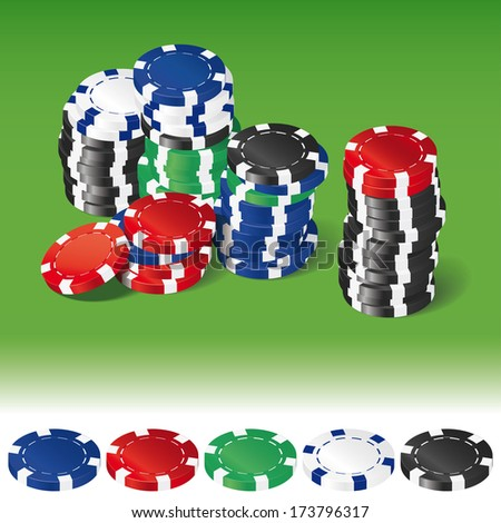 Stacks of various gambling chips on green background and single chips isolated on white