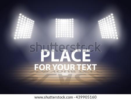 Stadium lights. Three spotlights on a Basketball arena. Vector illustration EPS10 - stock vector