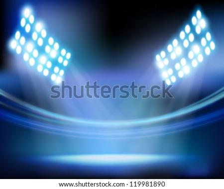 Stadium lights. Vector illustration. - stock vector