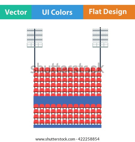 Stadium tribune with seats and light mast icon. Flat design in ui colors. Vector illustration.
