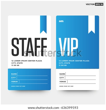 Staff VIP Entry ID Card Design Stock Vector (Royalty Free) 636399593 ...