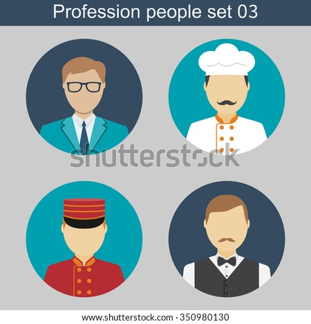 Staff restaurant, cook, waiter, janitor, manager. Set flat icons avatars. Vector illustrations. Template elements for web and mobile applications - stock vector
