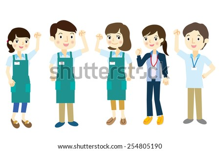 Staff team dressed in aprons - stock vector