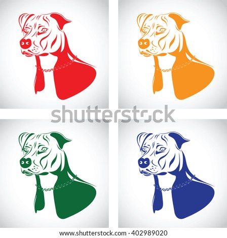 staffordshire terrier dog silhouette set - stock vector