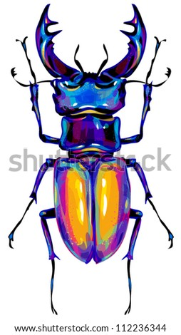 stag beetle - stock vector
