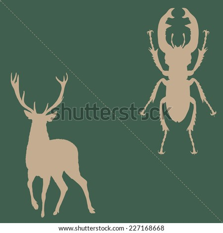 Stag beetle and deer silhouettes, abstract logo, hand drawn, vector illustration - stock vector