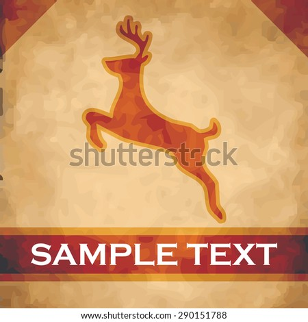 Stag silhouette on parchment with dark brown and gold ribbon - stock vector
