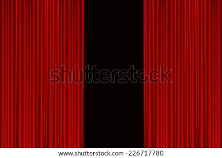 Stage curtain slightly open - stock vector