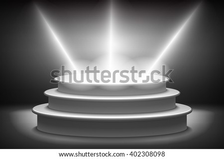 Stage for awards ceremony. Black podium. Pedestal. Scene. Spotlight. 3D vector. Vector illustration. art