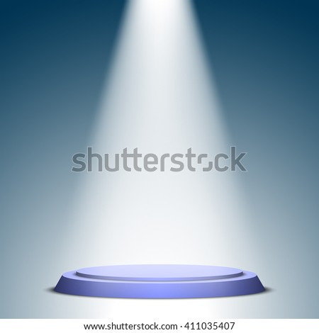 Stage for awards ceremony. Blue round podium. Pedestal. Scene. Spotlight. 3D. Vector illustration.