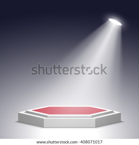Stage for awards ceremony. Red and white podium. Pedestal. Scene. Spotlight. 3D. Vector illustration.