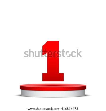 Stage for awards ceremony. Red and white round podium. Pedestal. Scene. Vector illustration.