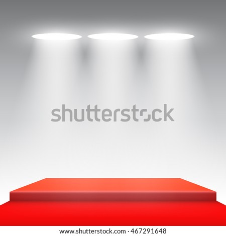 Stage for awards ceremony. Red podium. Spotlight. 3D. Vector illustration.