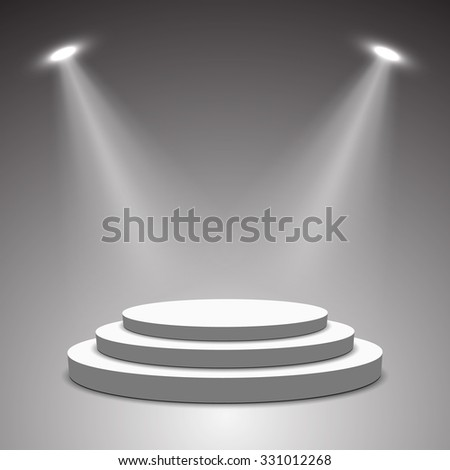 Stage for awards ceremony. White podium. Pedestal. Scene. Spotlight. 3D vector