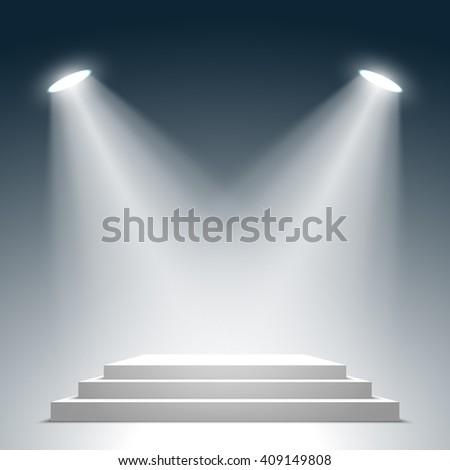 Stage for awards ceremony. White square podium. Pedestal. Scene. Spotlight. 3D. Vector illustration. - stock vector