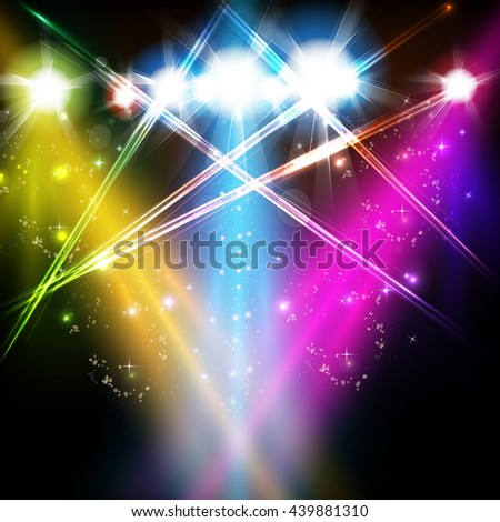 stage, light, spotlights, shine background easy all editable - stock vector