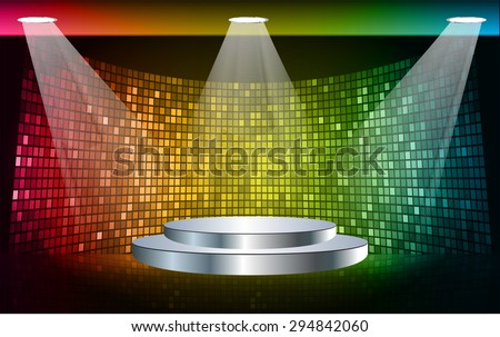 Stage Lighting blue red yellow Background with Spot Light Effects, vector illustration. Abstract light lamps background for Technology computer graphic website internet business. screen,movie,cinema - stock vector